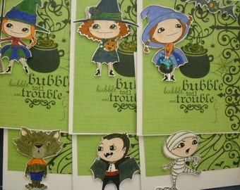 Set of 6 Witches and Friends Cards - green