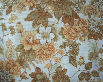 "Vintage 70s Fabric, Large Piece, Flowers, 79"" x 37"", Peach Blush and Sepia Material, Mums Leaves & Carnations, Fall Colors, Free Shipping"