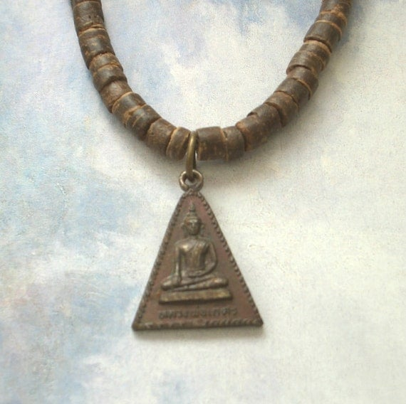 Buddha Pendant, Blessed Amulet, Earth Necklace, Choker, Bronze Buddhist Triangle with Verdigris Patina, Organic Wood Beads, Free Shipping
