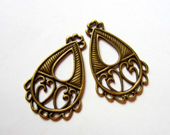 6 Antique bronze Boho chic earring hoop chandeliers jewelry findings 38mm 24mm 106y-AB (F5)