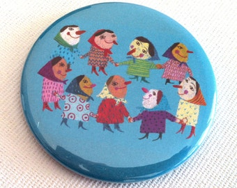 Fridge magnet / Dance grandmother  /  Children illustration / Blue / Red / Robe  / Funny grandmother / Red nose