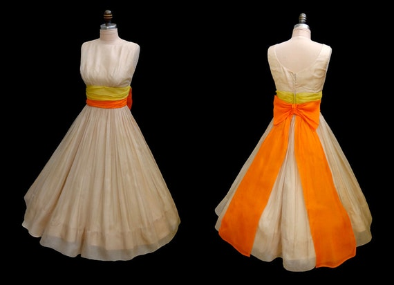 Reserved for Sui Vintage 1950's 50's Nude Organza Ruched Cocktail Party Dress XS