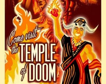 "Visit the Temple of Doom Travel Poster 11"" x 17"" Digital Print"