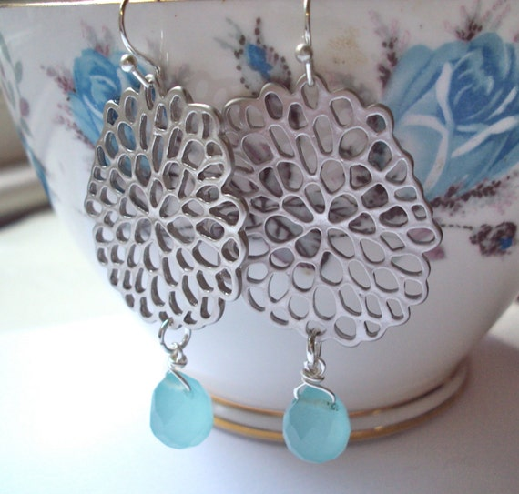 Silver Chrysanthemum earrings with aqua blue quartz