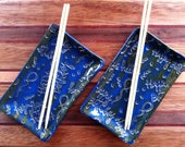 Handmade Wolf Creek Montana Blue Happy Birthday Ceramic Rectangular Sushi Plate Set