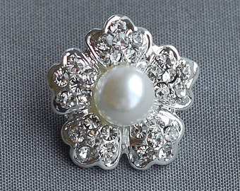 10 Rhinestone Buttons Ivory Pearl Round Diamante Crystal for Hair Flower Comb Clip Wedding Invitation Ring Pillow BT072