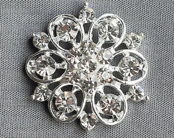 "10 Rhinestone Buttons Diamante Crystal 1-1/8"" Round Hair Flower Comb Clip Wedding Invitation Bouquet Jewelry BT094"