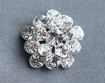 "10 Rhinestone Buttons Round 3/4"" (20mm) Diamante Crystal Hair Flower Comb Wedding Invitation Bouquet Jewelry Pillow BT074"