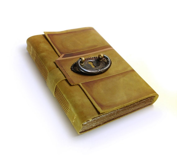 Leather Journal / Diary / Notebook / Sketchbook - old paper, vintage escutcheon - The Secret Drawer - Mothers Day Sale