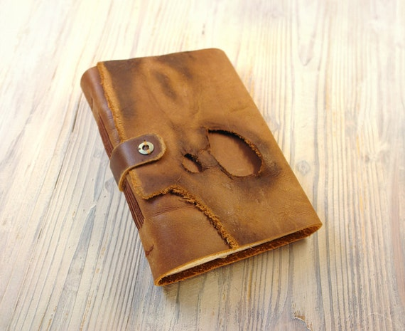 Journal - Vintage Style Art Leather Bound Brown Leather Journal with Old Paper - The Treasure Seeker