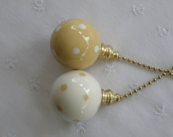 Light Ginger With Polka Dots - Set of 2 - Pottery Ball Ceiling Fan Pulls - Handmade in the USA - Nickel or Brass Hardware