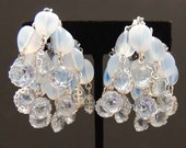 Vintage Blue Bezel Set Crystal and Art Glass Bead Earrings