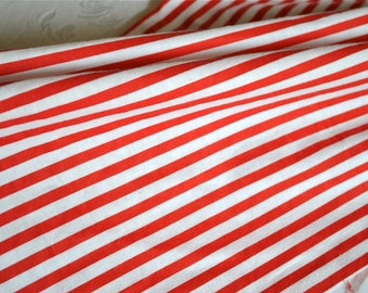 Vintage Fabric - Red and White Stripe Flannel - Perfect for Christmas Crafts - 35 x 30