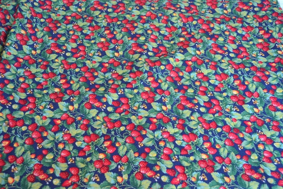 Strawberry Fabric - Red Strawberries and Bees on Navy Blue - By the Yard