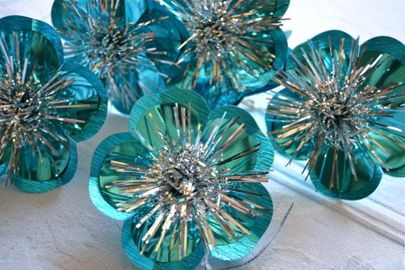 Vintage Christmas Ornaments - Turquoise Foil Reflector Tie Ons - A Set of 4
