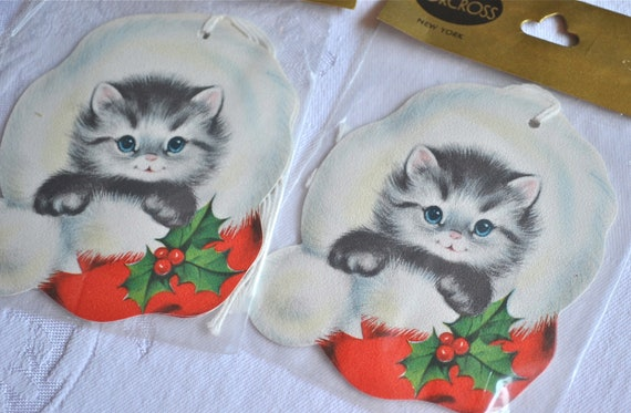 Vintage Christmas Gift Tags - Norcross Kittens - 4 Tags