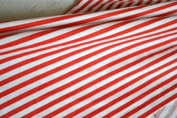Vintage Fabric Red And White Stripe Flannel Perfect For