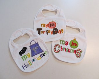 Custom My First Halloween, Thanksgiving and Christmas Bibs, Baby, Toddler