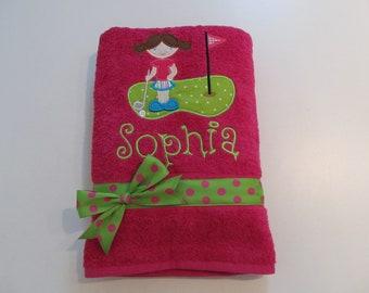Little Girl Golfer Applique, Hot Pink Towel, Personalized, Custom Order, Girls