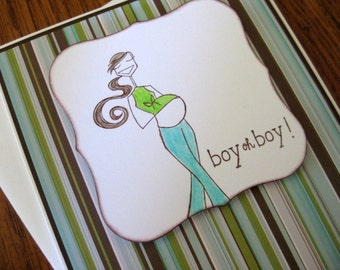 boy oh boy  - Expecting Brunette Mother Baby Boy Handmade Card