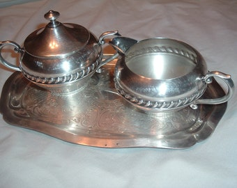 vintage silver on copper Sheffield  creamer and sugar set with tray