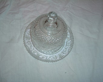vintage clear glass diamond cut butter /chesse dish with lid