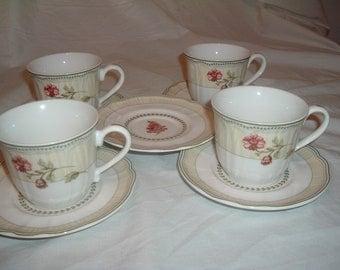 4 4 vintage tea cups Epoch FLEUR PROVENCE e135