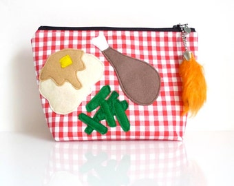 Little Picnic Pouch - Yummy Food - Zippered - With Love Bunny - Handmade in USA