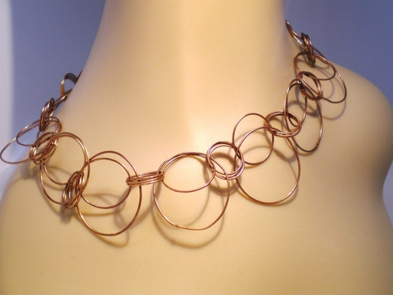 Vintage Necklace Statement of Copper 64 Circles Abstract Modernist Modern Contemporary Mid Century Style
