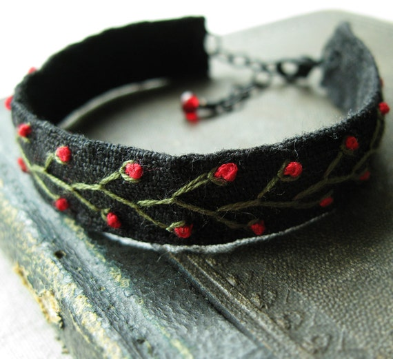 Embroidered Bracelet Green Vines and Red Flowers on Black Linen