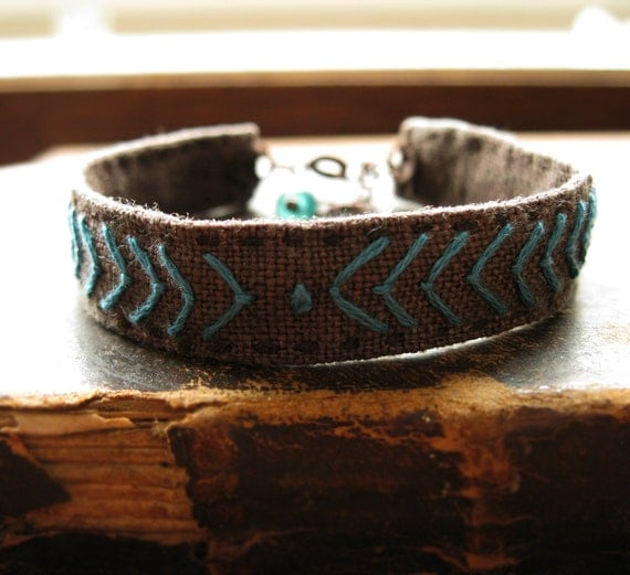 Bohemian Turquoise Chevron Bracelet Hand Embroidered on Brown Linen