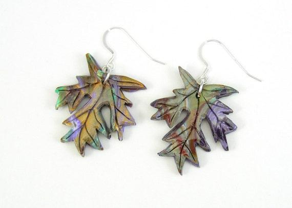 Maple Leaf Swirl Earrings, Polymer Clay Earrings, Handmade Earrings, Sterling Silver Earring Wires and Findings