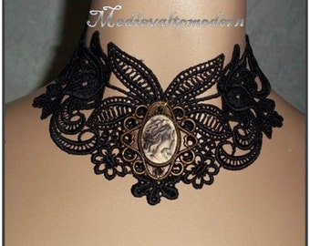 Choker in Soft Black with Antiqued Cameo Flower Venise Lace Victorian Necklace Runway Wearable Art Vintage Style