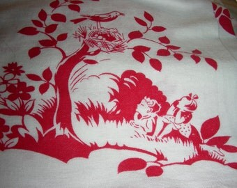 Vintage  NOVELTY FEEDSACK Feed Sack  Fabric -  - ADORABLE  Children Playing in Red on White Background - 36 x 44