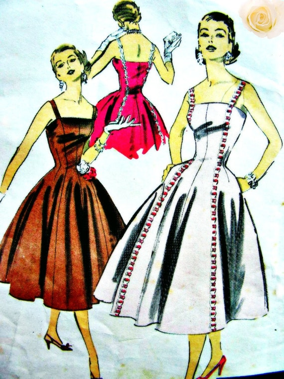 Vintage 50's ADVANCE Pattern 7990 by American Designer: GORGEOUS Cocktail or Party Dress - Bust 36