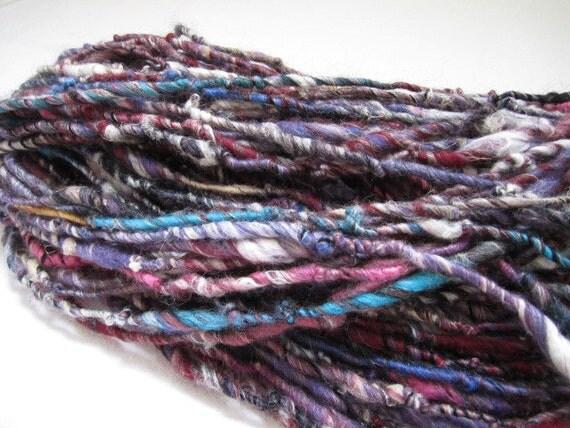 Purple Fiber Blend Mix Textured Cotton Tencel Merino Wool Soya Silk Alpaca Core Spun Yarn 81yards