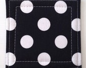 Coasters made w/ Designer fabric Dots in Black