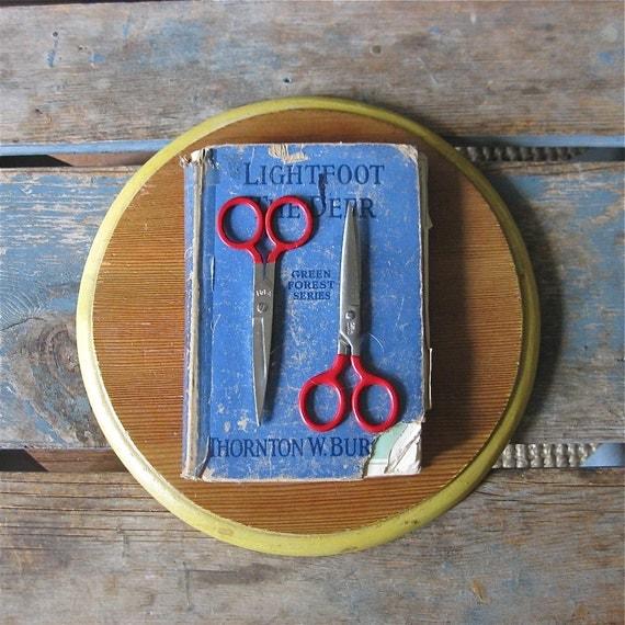 2 vintage school scissors, children scissors, child, back to school, red handles, made in the usa,