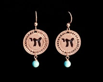 Hebrew Chai jewelry, Rose Gold earrings, Turquoise earrings, Life, Unique Jewish jewelry, Spiritual jewelry, Inspiration