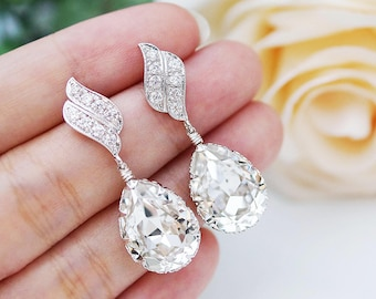 Wedding Jewelry Bridal Earrings Bridesmaid Dangle Earrings LUX Cubic zirconia earrings with Clear White Swarovski Crystal Tear drop Earrings