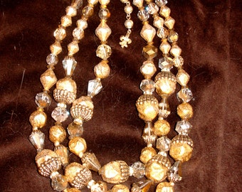 Vendome elegant 3 strand Gold Bead & Crystal Necklace