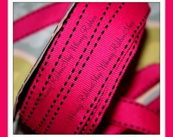 NEW 3 yards 5/8 Offray Hot Pink w/ Black SADDLE STITCH on grosgrain Ribbon for Hair bows Scrap booking Gift Wrapping Invitations
