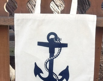 NAVY Nautical Anchor Print Eco-Friendly Reusable Canvas Tote Bag