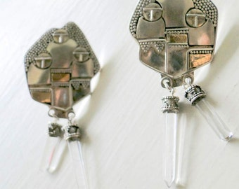 Art Deco Sterling Silver Earrings Rock Crystal Prism Drops