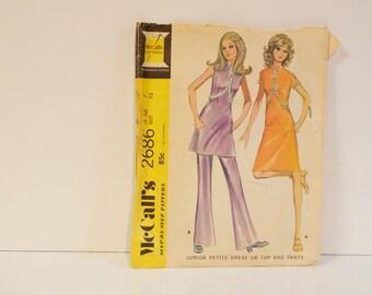 Vintage 1970 McCalls Pattern 2686 Junior Petite Dress or Top and Pants