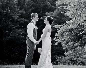 Vintage Inspired Cotton Lace Mermaid Destination Garden Wedding Dress | Strapless Wedding Dress | Fit and Flare Wedding Dress | Angela