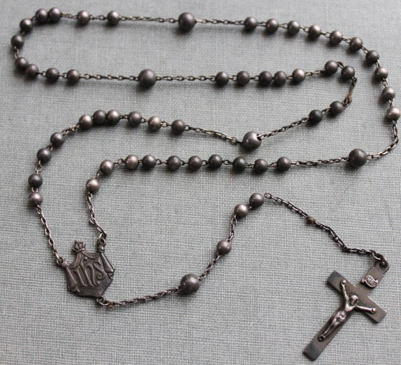 Victorian Solid Sterling Rosary / Helen Murray