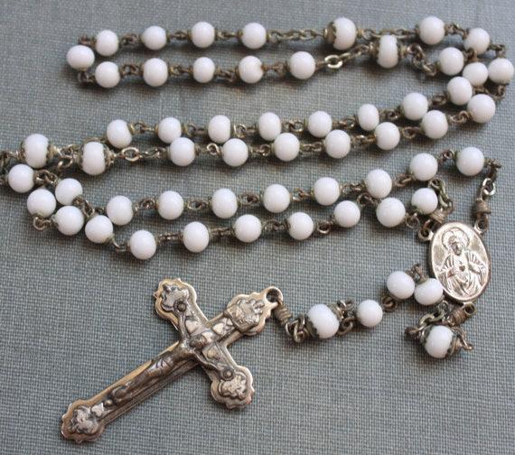 Antique Milk Glass Rosary