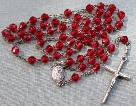 Vintage Claret Glass Rosary