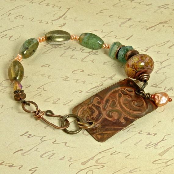 La Sienna Sea foam and Apricot Copper Cuff and Art Bead OOAK Bracelet